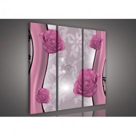 Obraz na plátne viacdielny - OB3241 - Kvety ružový