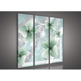 Obraz na plátne viacdielny - OB3242 - Zelené kvety