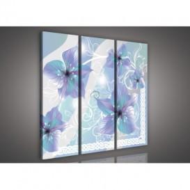 Obraz na plátne viacdielny - OB3246 - Modré kvety modrý
