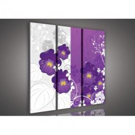 Obraz na plátne viacdielny - OB3250 - Fialové orchidey fialovo biely
