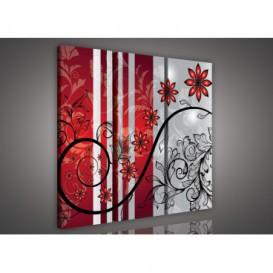Obraz na plátne viacdielny - OB3252 - Červené kvety červeno sivý