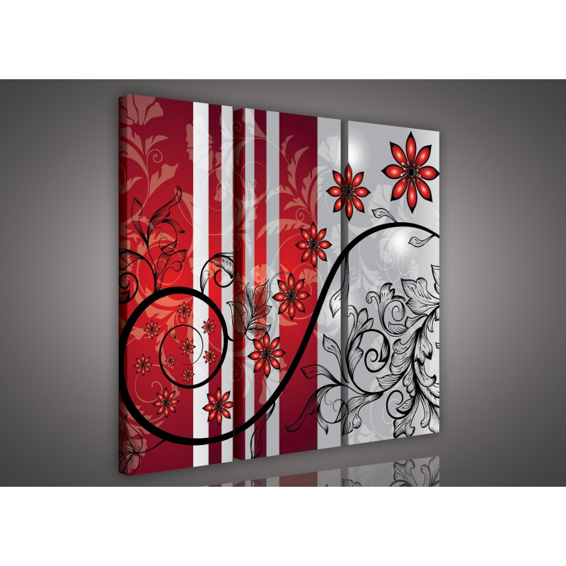 Obraz na plátne viacdielny - OB3252 - Červené kvety červeno sivý ... 139258e54cc