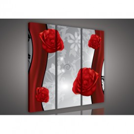 Obraz na plátne viacdielny - OB3254 - Kvety červený
