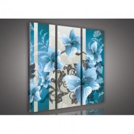 Obraz na plátne viacdielny - OB3258 - Kvety belasý