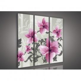 Obraz na plátne viacdielny - OB3259 - Kvety ružový