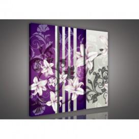 Obraz na plátne viacdielny - OB3260 - Kvety fialový