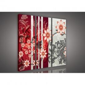 Obraz na plátne viacdielny - OB3261 - Kvety červený
