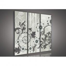 Obraz na plátne viacdielny - OB3262 - Kvety sivý