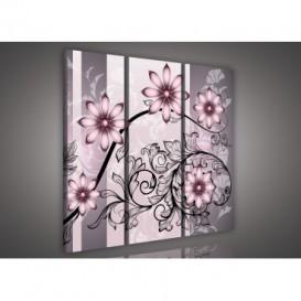 Obraz na plátne viacdielny - OB3263 - Ružové kvety