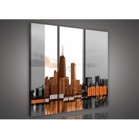 Obraz na plátne viacdielny - OB3267 - Urban city oranžový