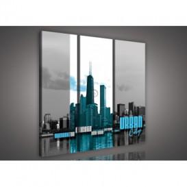 Obraz na plátne viacdielny - OB3269 - Urban city modrý