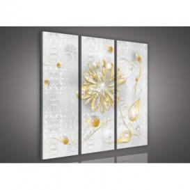 Obraz na plátne viacdielny - OB3294 - Zlatý kvet s kamienkami