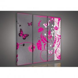 Obraz na plátne viacdielny - OB3300 - Kvety a motýle ružový