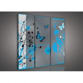 Obraz na plátne viacdielny - OB3301 - Kvety a motýle modrý