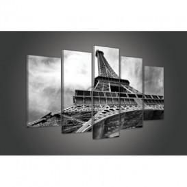 Obraz na plátne viacdielny - OB3405 - Eifelová veža čierno biely