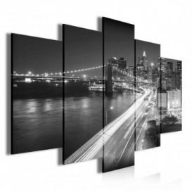 Obraz na plátne viacdielny - OB3408 - New York čierno biely