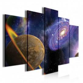 Obraz na plátne viacdielny - OB3473 - Planéta a galaxia