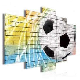Obraz na plátne viacdielny - OB3486 - Futbalová lopta na múre