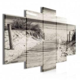 Obraz na plátne viacdielny - OB3496 - Drevený chodník na pláž