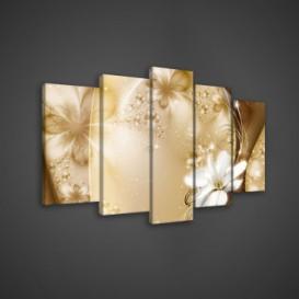 Obraz na plátne viacdielny - OB3550 - Zlaté kvety