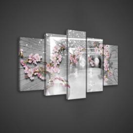 Obraz na plátne viacdielny - OB3552 - Ružové kvety