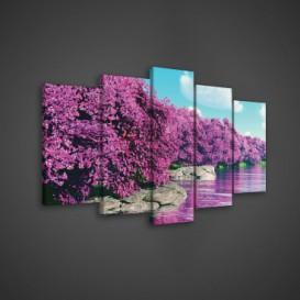 Obraz na plátne viacdielny - OB3614 - Ružové stromy