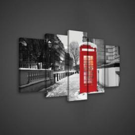 Obraz na plátne viacdielny - OB3643 - Telefónna búdka