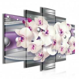 Obraz na plátne viacdielny - OB3739 - Fialová abstrakcia s orchideou