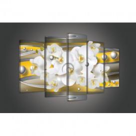 Obraz na plátně vícedílný - OB3747 - Žlutá abstrakce s orchidejí