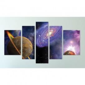 Obraz na plátne viacdielny - OB3818 - Planéta a galaxia