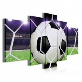 Obraz na plátne viacdielny - OB3826 - Futbalová lopta v sieti