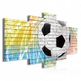 Obraz na plátne viacdielny - OB3831 - Futbalová lopta na múre