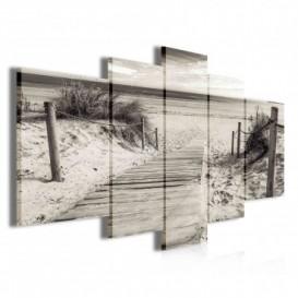 Obraz na plátne viacdielny - OB3845 - Drevený chodník na pláž