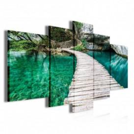 Obraz na plátně vícedílný - OB3862 - Dřevěná lavička nad řekou