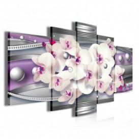 Obraz na plátne viacdielny - OB3907 - Fialová abstrakcia s orchideou