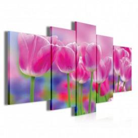 Obraz na plátne viacdielny - OB3908 - Ružové tulipány