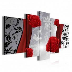 Obraz na plátne viacdielny - OB3911 - Kvety červený