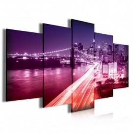 Obraz na plátne viacdielny - OB3934 - New York fialovo ružový