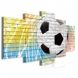 Obraz na plátne viacdielny - OB3983 - Futbalová lopta na múre