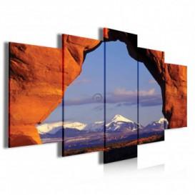 Obraz na plátně vícedílný - OB3988 - Pohoří ve skalním oblouku