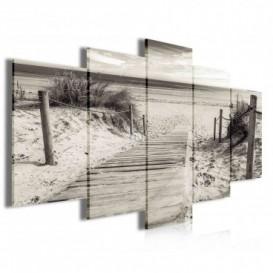 Obraz na plátne viacdielny - OB3996 - Drevený chodník na pláž