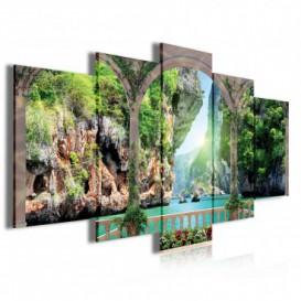 Obraz na plátne viacdielny - OB4004 - Výhľad na skalnatý útes