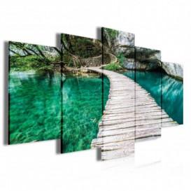Obraz na plátně vícedílný - OB4013 - Dřevěná lavička nad řekou