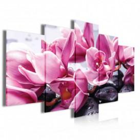 Obraz na plátne viacdielny - OB4056 - Ružové kvety s kamienkami