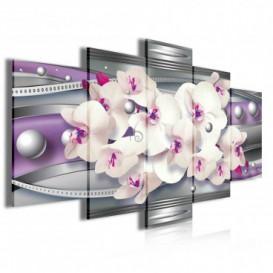 Obraz na plátne viacdielny - OB4057 - Fialová abstrakcia s orchideou