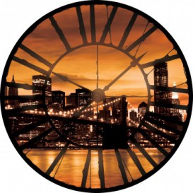 Fototapeta - FT0370 - Hodiny - nočný New York