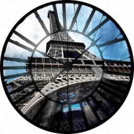 Fototapeta - FT0374 - Hodiny - Eiffelová veža Paríž