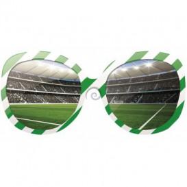 Fototapeta - FT0524 - Okuliare a futbalový štadión bielo zelené