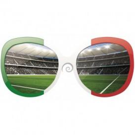 Fototapeta - FT0526 - Okuliare a futbalový štadión zeleno, bielo červené