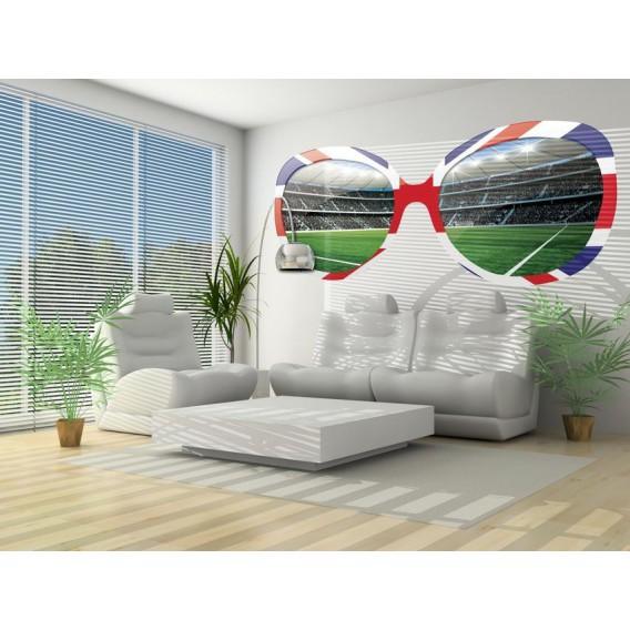 Fototapeta - FT0527 - Okuliare a futbalový štadión červeno, modro biele